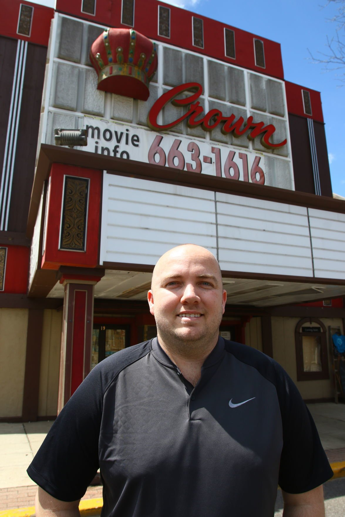 Brad Strom in front of the Crown Theater
