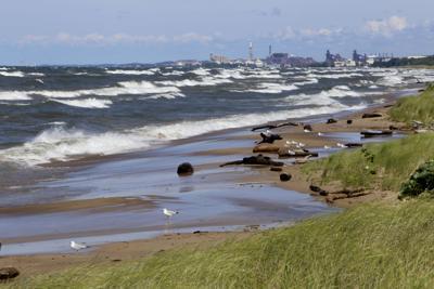 High waves on Lake Michigan STOCK