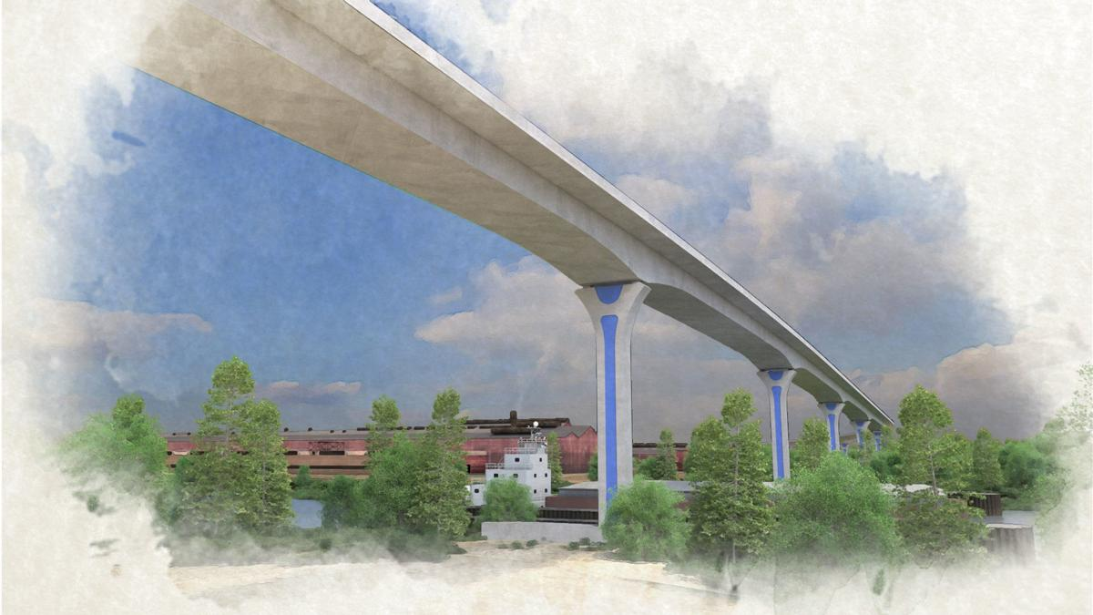 An artist rendering of future Cline Avenue bridge