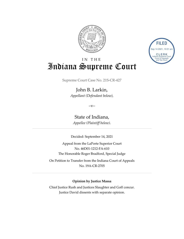 Larkin v. State ruling of Indiana Supreme Court