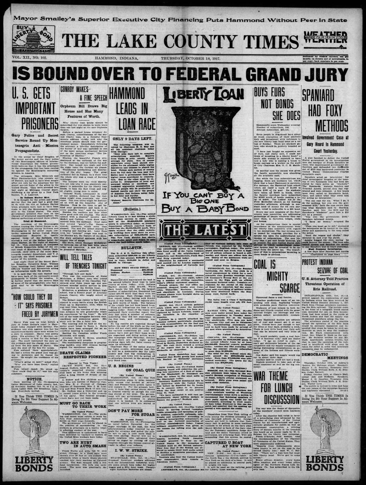 Oct. 18, 1917: Is Bound Over To Federal Grand Jury
