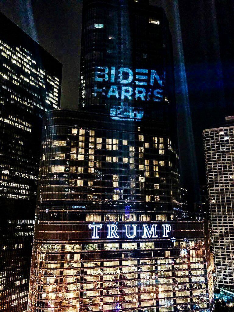 USW shines Biden-Harris 'batlight' on Trump Tower in Chicago
