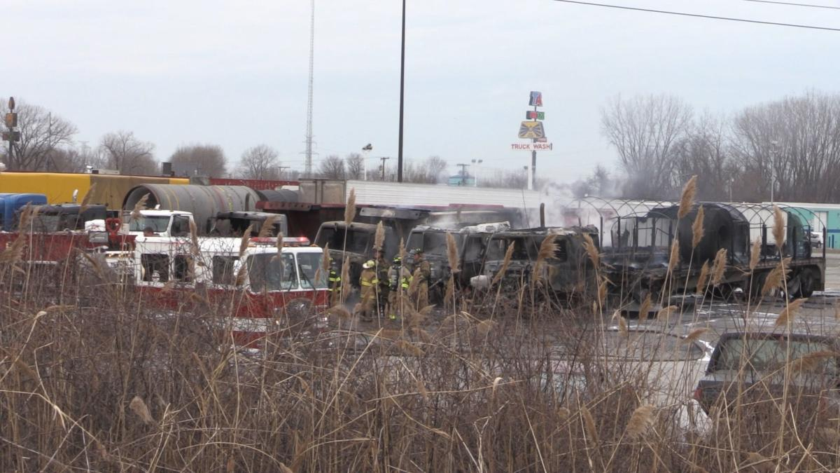 Semis Catch Fire at Truck stop