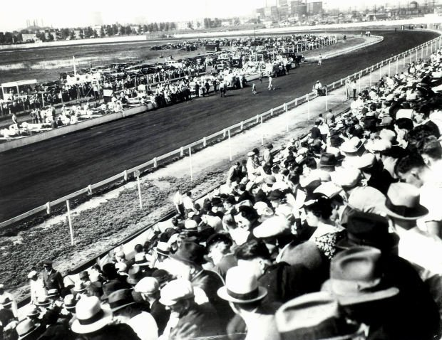 A view from the grandstands at the Roby Speedway in 1935 l
