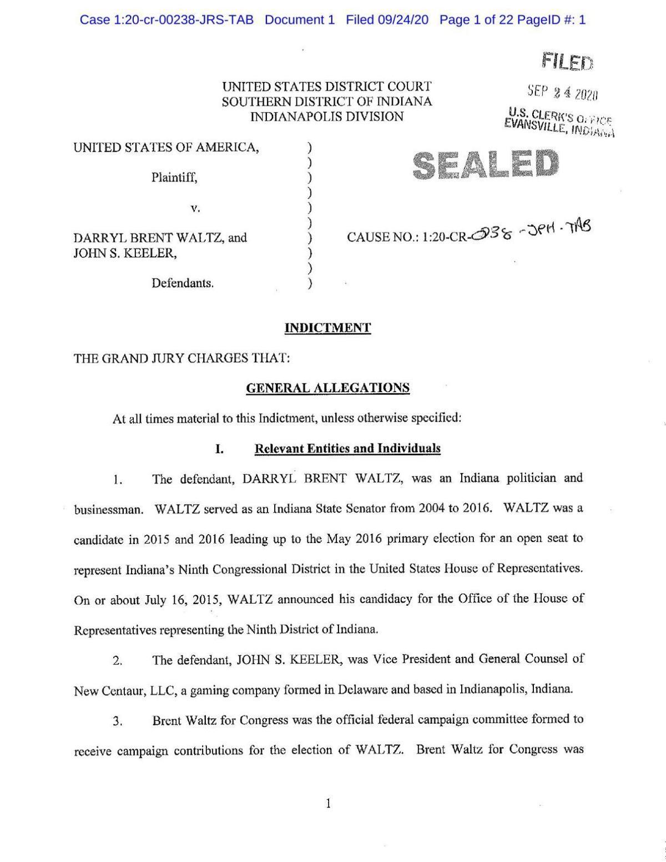 Federal grand jury indictment in U.S. v. Waltz and Keeler