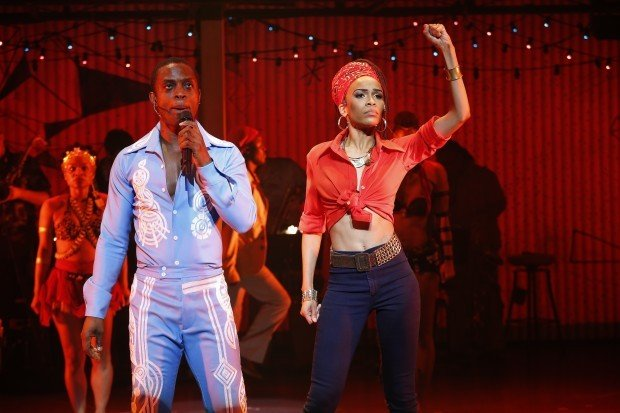 "Singer Michelle Williams (right) stars with Adesola Osakalumi (left) in ""Fela!"" National Broadway Tour"