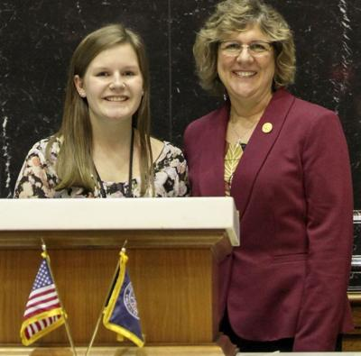 Rep. Olthoff welcomes student page to the Statehouse