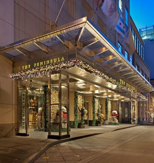 The Peninsula Chicago Hotel Decorated For Holiday Season