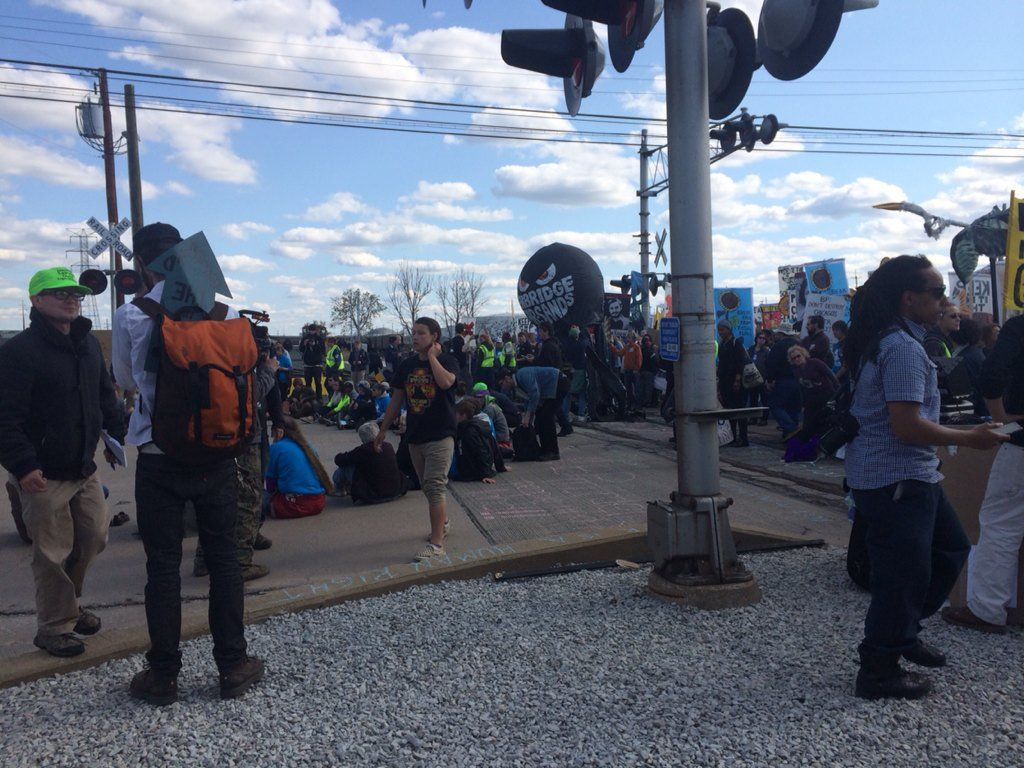 Protesters at BP in Whiting met by police in riot gear