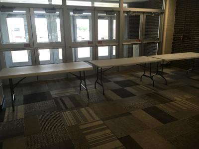 Tables blocking exit at Griffith High School