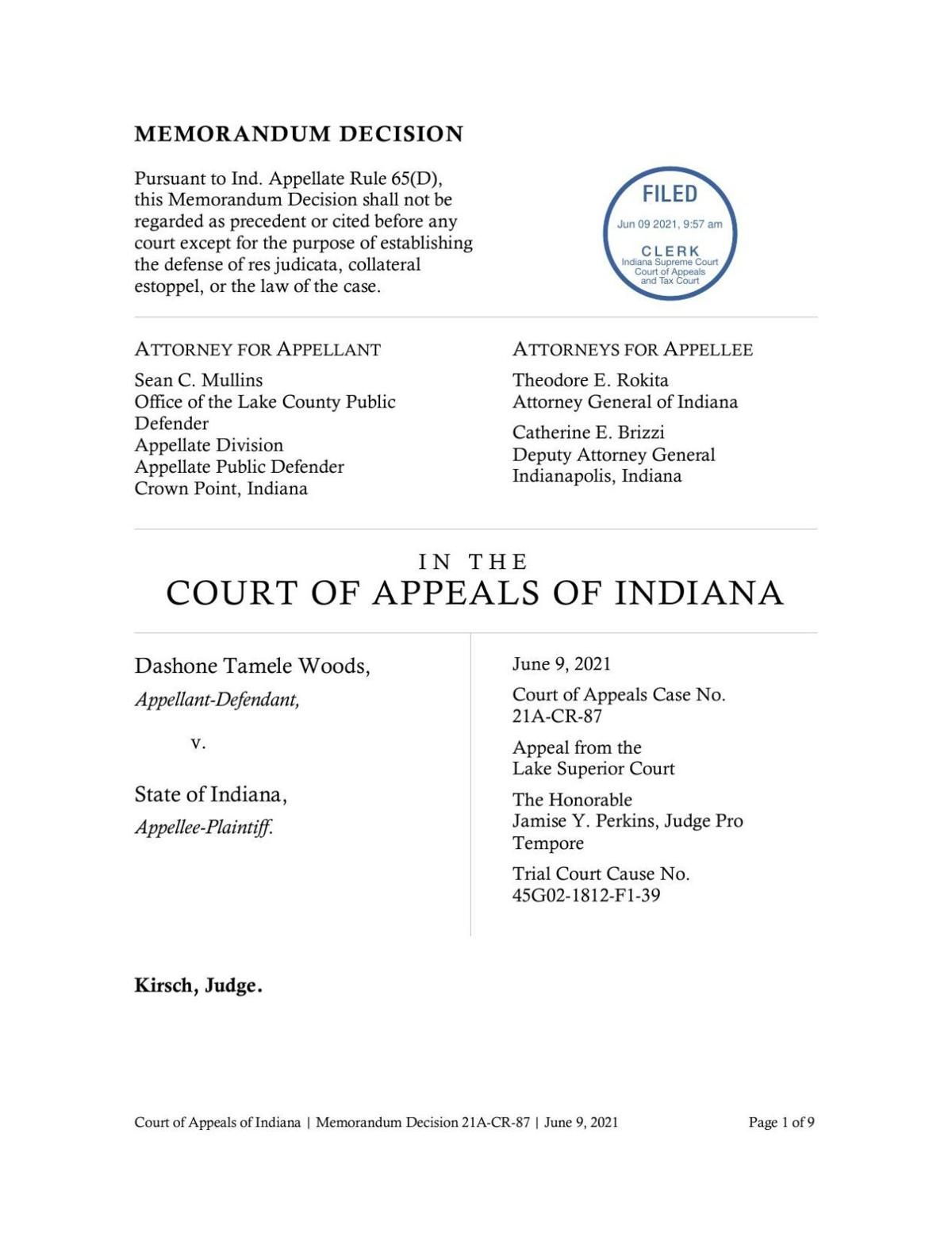 Woods v. State ruling of Indiana Court of Appeals