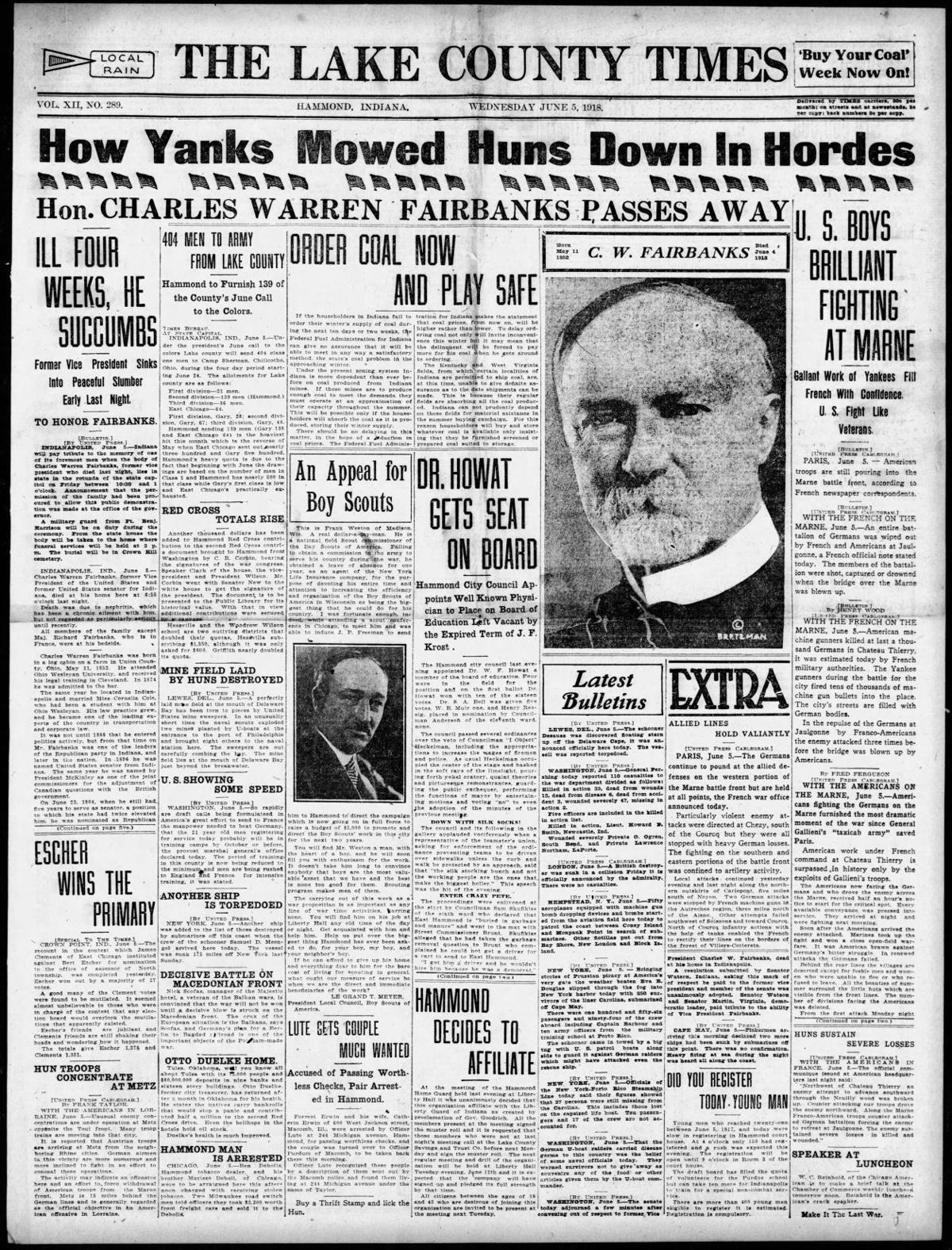 June 5, 1918: Hon. Charles Warren Fairbanks Passes Away