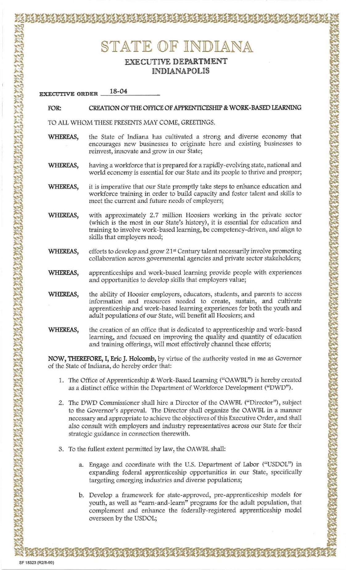 Gov. Eric Holcomb Executive Order 18-04