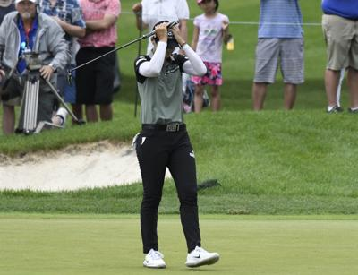 Sung Hyun Park reacts after making a birdie putt during the second hole of  a playoff to win the KPMG Women s PGA Championship on Sunday in Kildeer 87272d6c5e