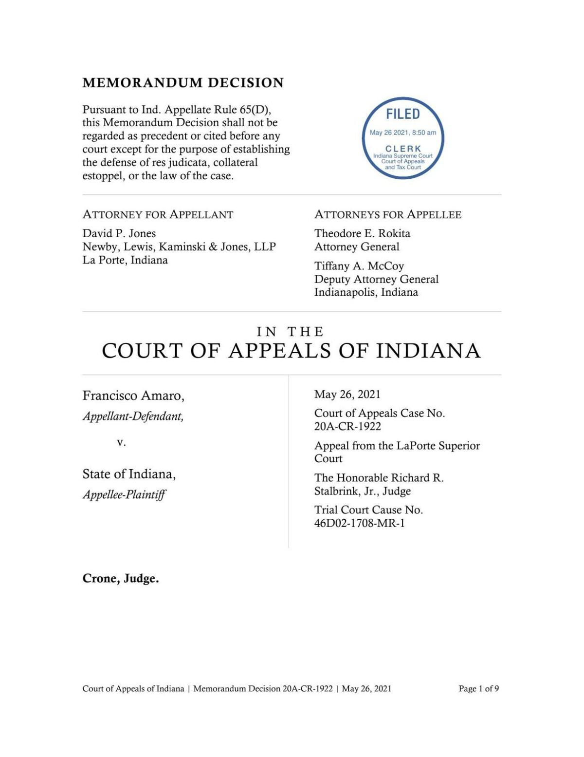 Amaro v. State ruling of Indiana Court of Appeals