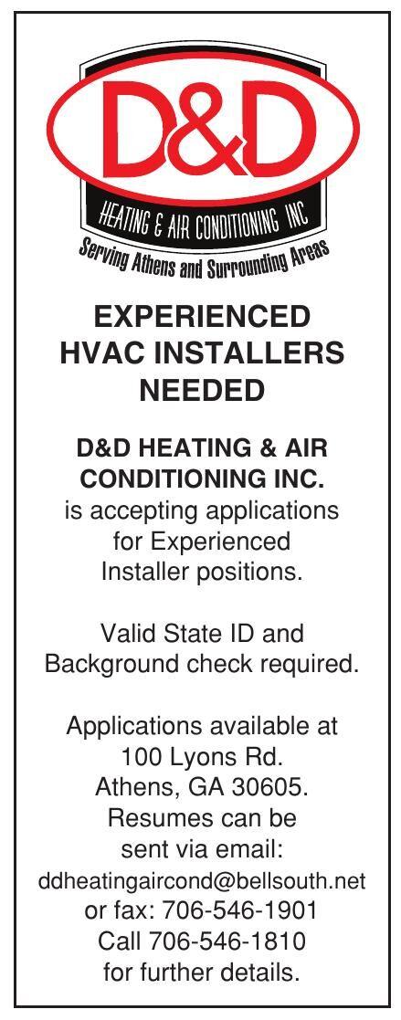 EXPERIENCED HVAC INSTALLERS NEEDED