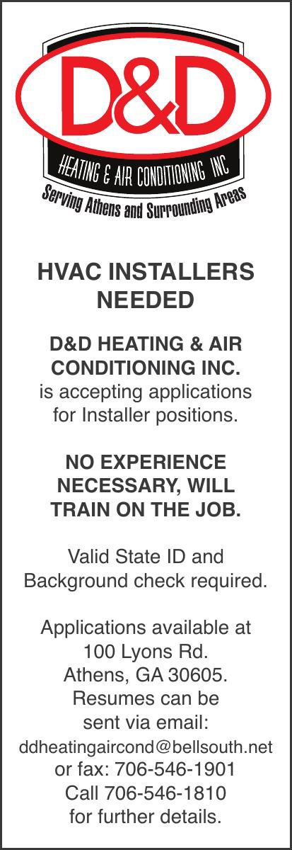 D&D HAVC Installers needed-41712