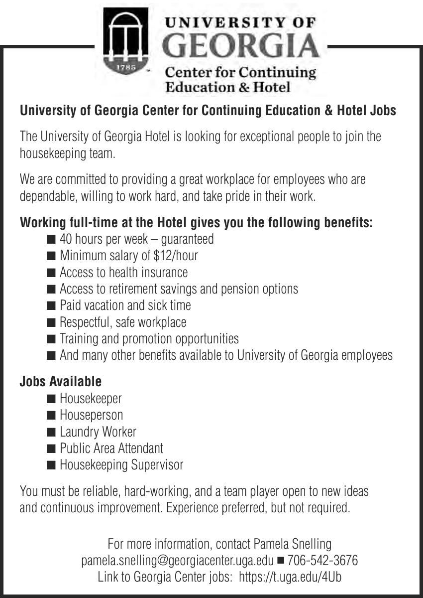 University of Georgia Center for Continuing Education & Hotel Jobs