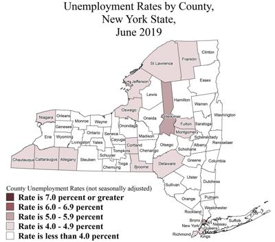 Unemployment rate map for June 2019