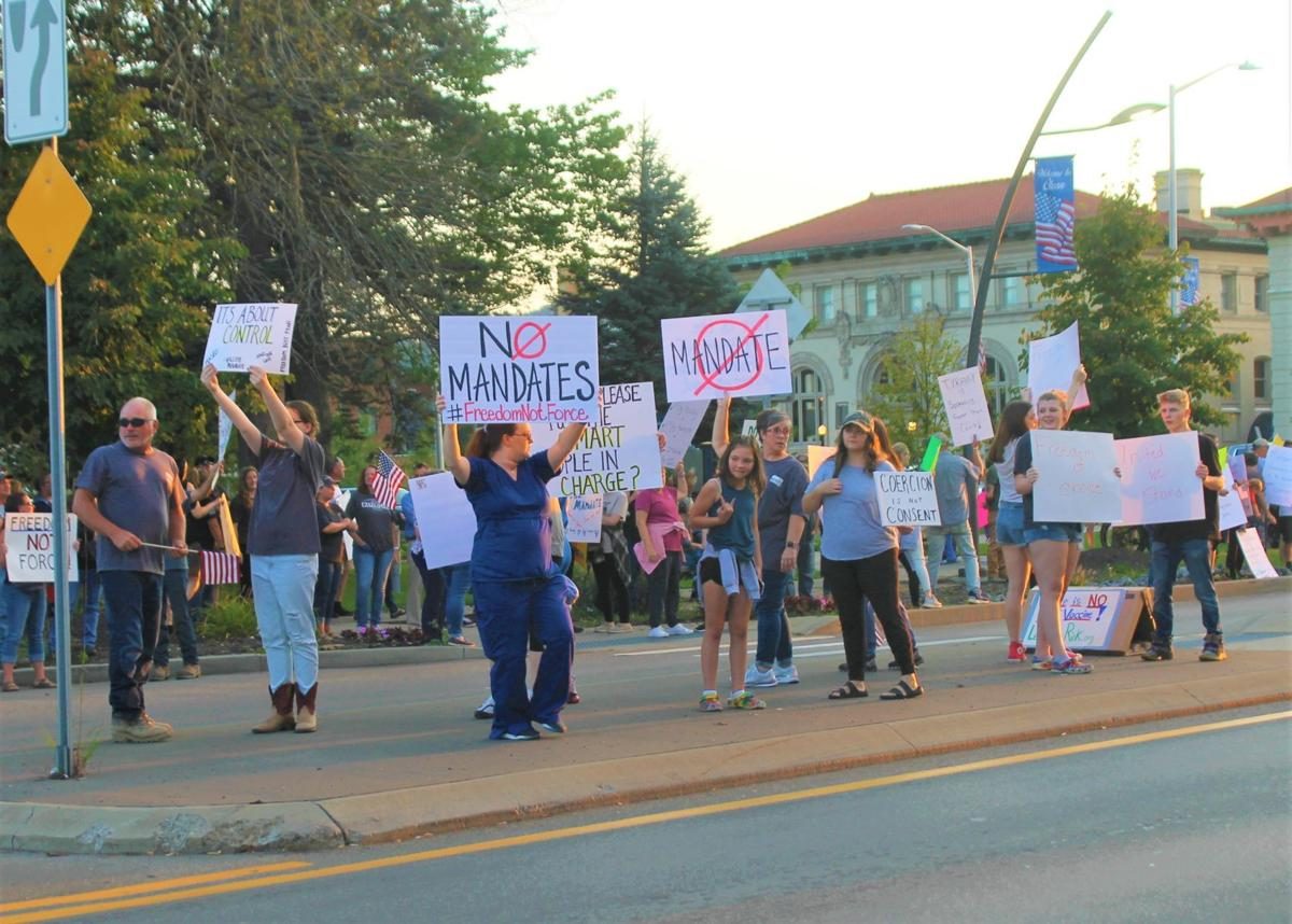 Dozens gather in Olean to protest state vaccine mandates