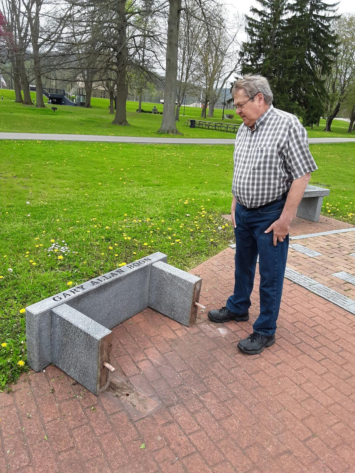 Vandals Overturn Stone Benches At Vets Wall Of Honor In Olean News Oleantimesherald Com