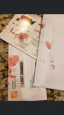 Blood-smeared mail