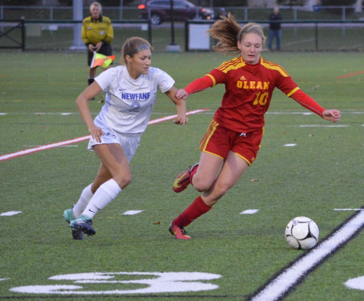 62386aef8d1 Newfane s Megan Knoll (2) and Olean s Justine Brooks (10) eye the ball  during a Section 6 Class B-1 girls soccer semifinal Tuesday at  Williamsville North.