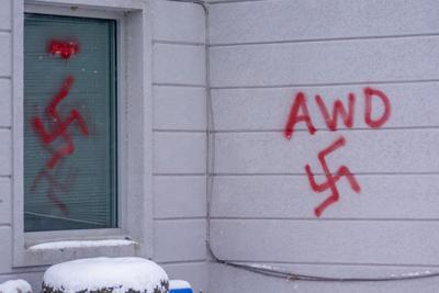 Swastikas on recruiting station