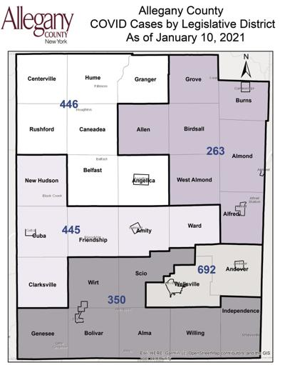 Allegany County COVID-19 map Jan. 10