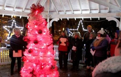 we re all sisters here pink pumpkin project tree lighting ceremony
