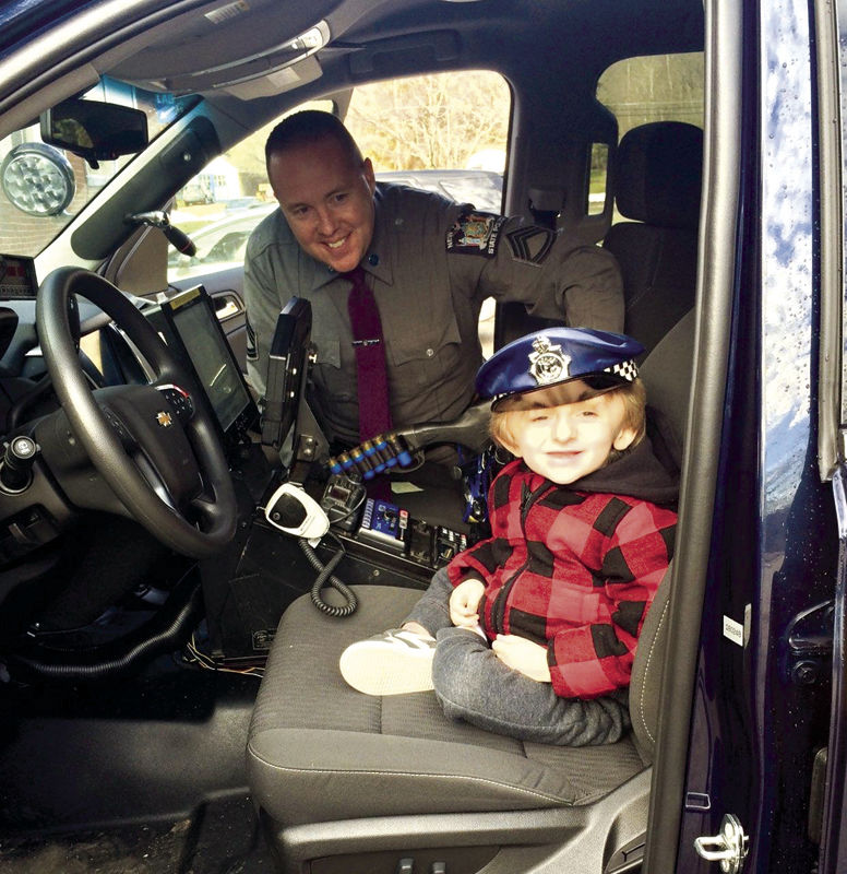 Bentley Wichert Sits In A New York State Police Patrol Vehicle During His Day As Junior Trooper Wednesday At The Olean Barracks