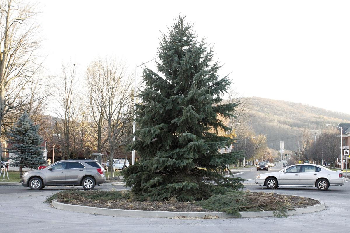 The City Put Up A 26 Foot Blue Spruce Tree In Center Of State And Union Streets Roundabout Tuesday Christmas Trees Lights Will Come Alive At