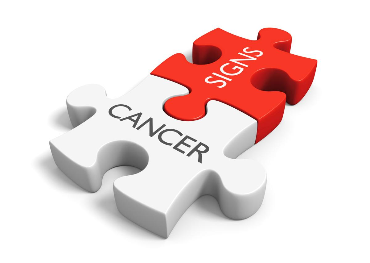 Cancer signs and symptoms concept with two linked puzzle pieces, 3D rendering