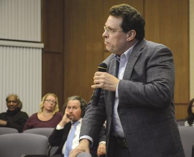Lenny Liguori, CEO of Directions in Independent Living, speaks Thursday during a public hearing before the city of Olean Zoning Board of Appeals