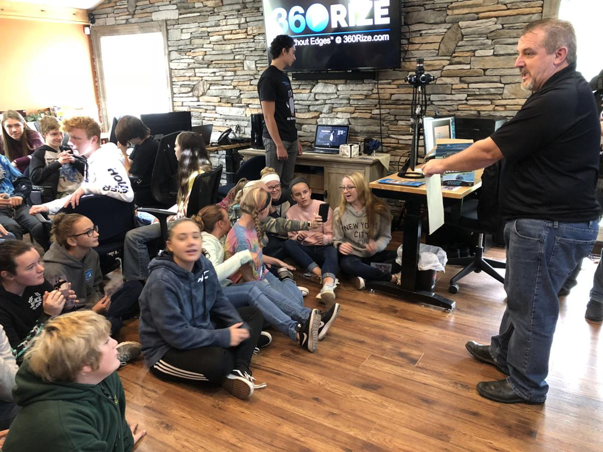Michael Kintner, CEO and founder of 360RIZE, demonstrates 360-degree photography technology to eighth-grade students from Cattaraugus-Little Valley Central School.