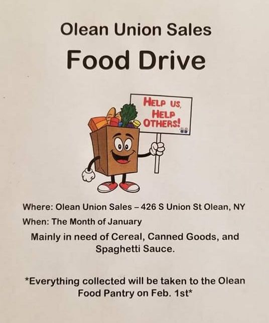 Olean Union Sales food drive flier
