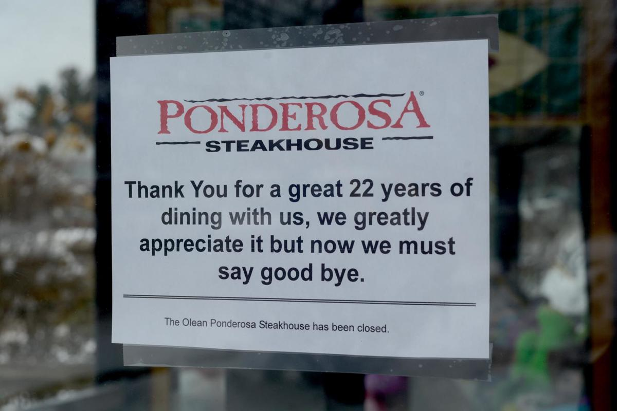 sign hanging Tuesday outside Olean's Ponderosa Steakhouse