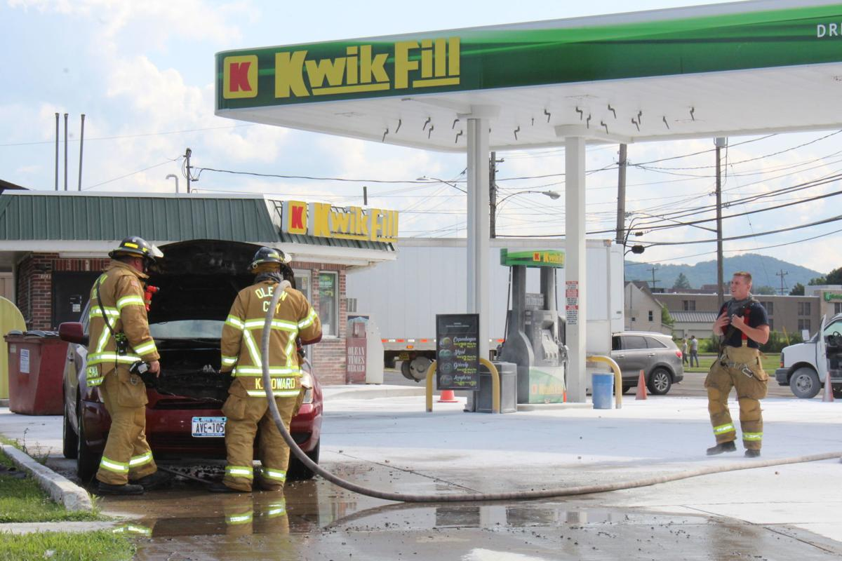 Vehicle fire at Olean Kwik Fill