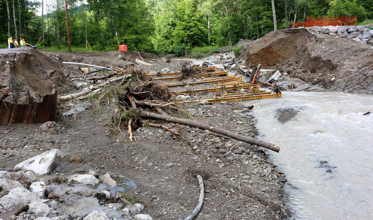 County Public Works officials tallying storm damage to bridge construction site