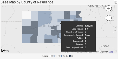 Current map of cases in Sully County