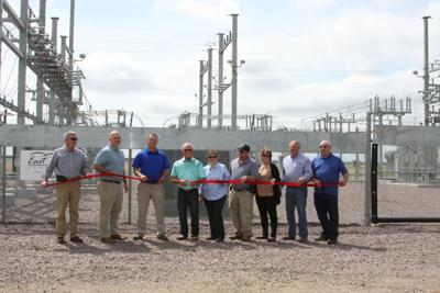 East River Electric Business Development Director Mike Jaspers (left), East River Electric Chief Member and Public Relations Officer Chris Studer, East River Electric Chief Operations Officer Mark Hoffman, Oahe Electric General Manager Rodney Haag, Onida Chamber of Commerce President Marileen Tilberg, Onida Area Development Corporation President Brian Ring, Onida Chamber of Commerce Member Leann Weischedel, Ringneck Energy CEO Walt Wendland and Oahe Electric Board President Ken Gillaspie