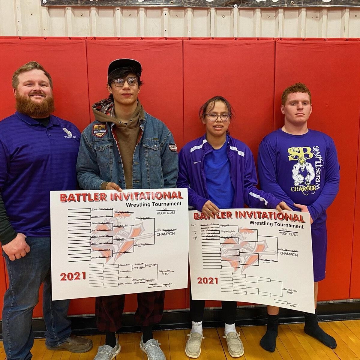 Chargers wrestlers on placing stand at Potter County