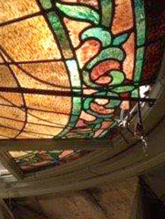 Stained glass in the courthouse dome in need of restoration