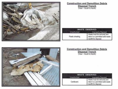 This image from the city's recent dump inspection indicates infractions found by the DENR.