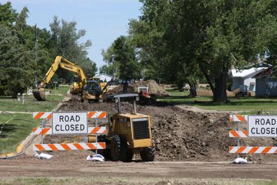 B & B Contracting, Inc. Aberdeen SD is wrapping up work on Phase I of the city's water and sewer project in the 300 block of 10th Street. New water lines are in place, and once acceptable water testing results are received, the new lines will be buried and the street repaired.