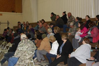 Blunt patrons listen intently to the feedback being offered by a community member during the special public input meeting of the Agar-Blunt-Onida School Board in Blunt on October 29. Quality of education, losing kids to Pierre, and the detrimental impact to the community were among the concerns voiced by the constituents gathered.