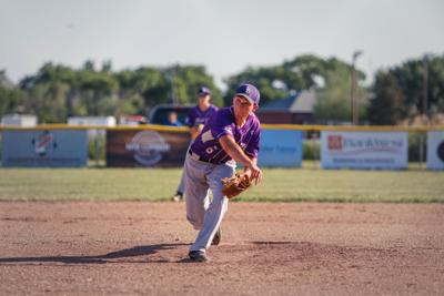 Garrett Petersen pitching the ball in the game against  Fort Pierre.