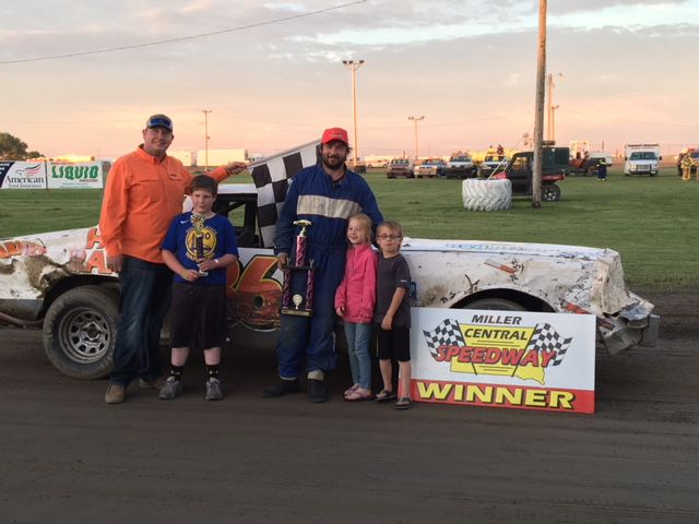 Jordan Rawstern won the Pump and Pack Class at the Miller Speedway Saturday night.