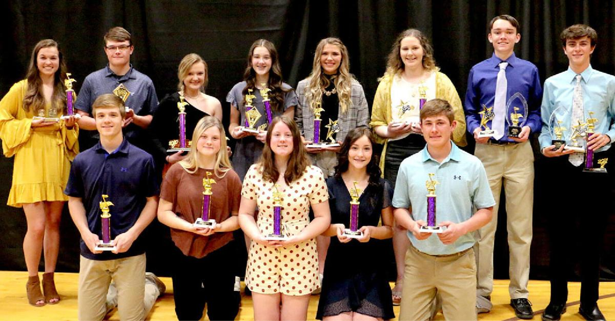 Jill Hofer, Darion Osterkamp, Karissa Osterkamp, Trichelle White, Lydia Hill, Saige Heath, Griffin Petersen, Collin Bradberry, Thomas Farries, Trinity Kenzy, Taryn Kenzy, Madison Bradberry and Reese Voorhees all received awards for their achievements.