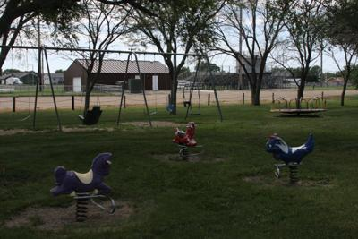 The spring rocking horses are among the playground equipment being replaced.